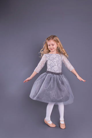 Charcoal Grey Glitter Tulle Skirt Children's