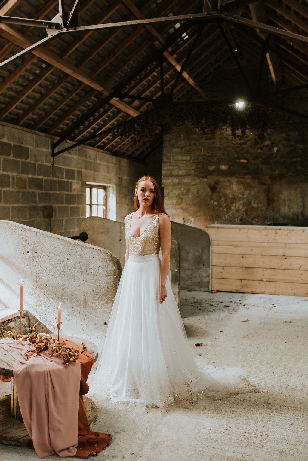 Tara // Champagne Sequin Wedding Dress