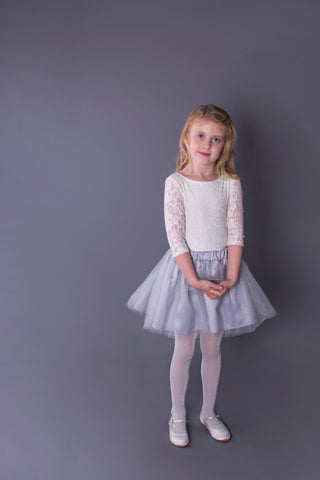Silver Grey Glitter Tulle Skirt Children's