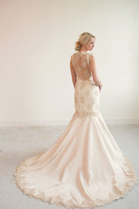 Gabriella // champagne beaded lace mermaid wedding dress
