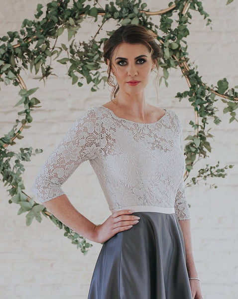 Audrey // Grey Lace Top with sleeves
