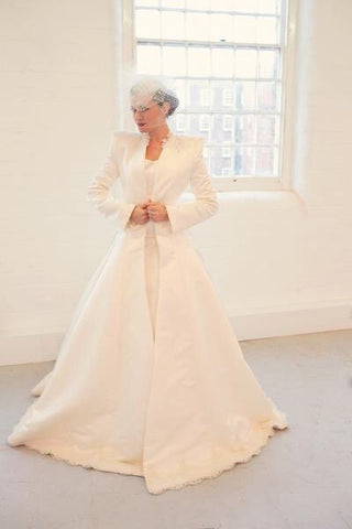 Ivory Duchess Satin Bridal Coat