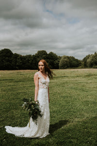 Macy // Beaded Leaf Design Wedding Dress