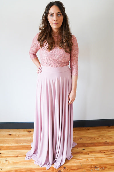 Penelope // Dusky Pink Long Bridesmaids Maxi Skirt