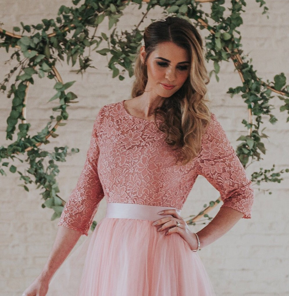 Audrey // Dusky Pink Lace Top with sleeves