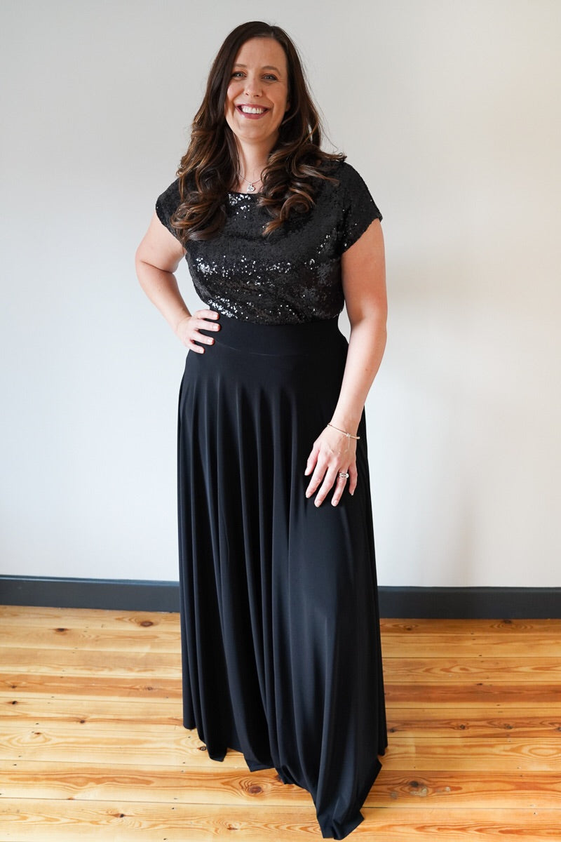 Penelope // Black Long Bridesmaids Maxi Skirt