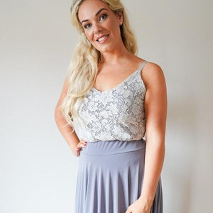 Rose // Grey Lace Camisole Top