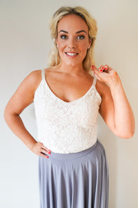 Rose // Ivory Lace Camisole Top