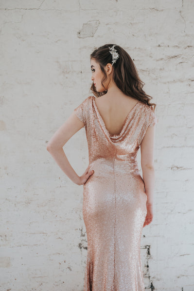 Stella // Rose Gold Cowl Back Sequin Bridesmaids Dress