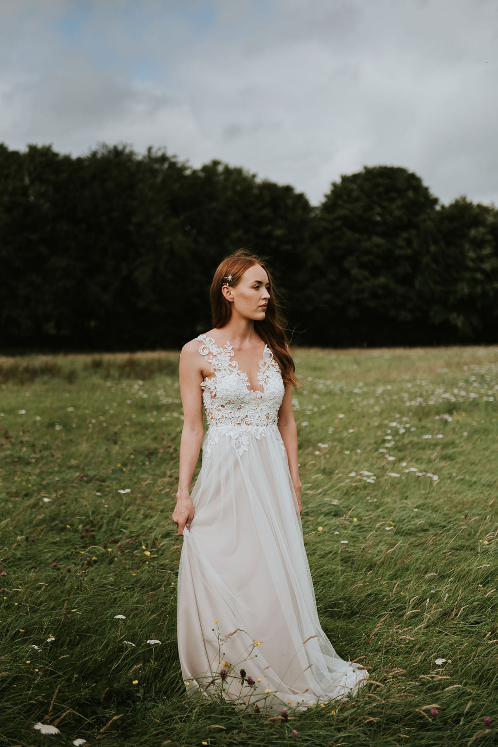 Imogen // Gupure Lace Illusion Wedding Dress