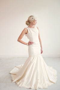 Sample Sale!! Amber // Silk open back gown with lace appliqué detailing