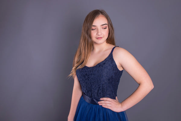 Rose // Navy Lace Camisole Top