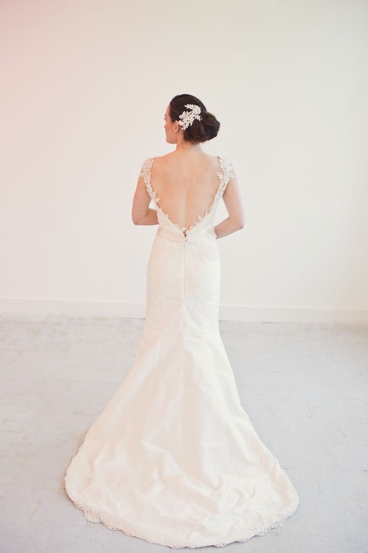 Polly // Ivory Silk Lace Fishtail Wedding Dress