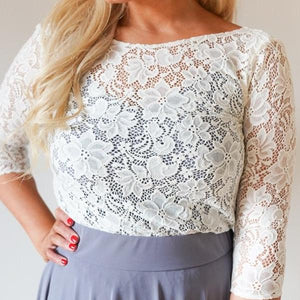 Audrey // Ivory Lace Top with sleeves