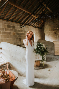// Ivory Halter neck Sequin Wedding Dress