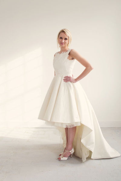 Willow // Short Dipped Hem Silk Wedding Dress with lace detailing