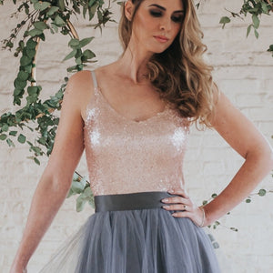 Elle // Rose Gold Sequin Camisole Top