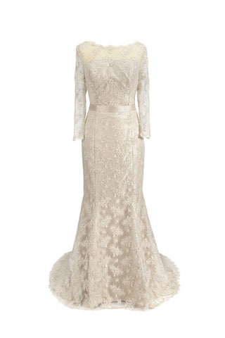 Amelia // Oyster Silk Vintage Lace Fishtail Wedding Dress