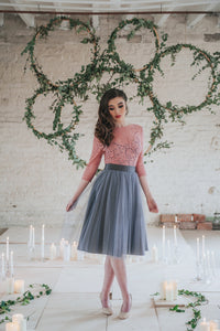 Lulu // Charcoal Grey Midi Tulle Skirt