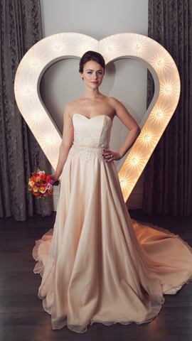 Mia // Blush georgette wedding dress with beaded detailing