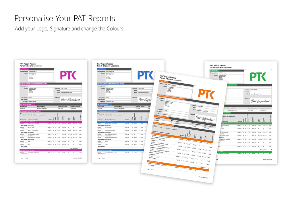 Personalise your PAT Testing Reports and Certification with SimplyPats