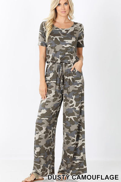 Camo T shirt material jumpsuit IN STOCK