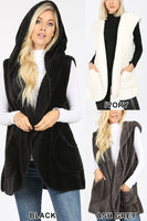 HOODED FAUX FUR COCOON VEST WITH SIDE POCKETS
