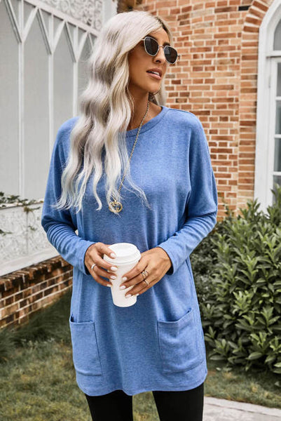Sky Blue Longline Pocketed Top