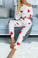 VALENTINES 2021 Red Heart Pattern Casual Pajamas Set