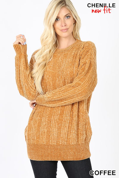 IN STOCK CABLE KNIT ROUND NECK CHENILLE SWEATER