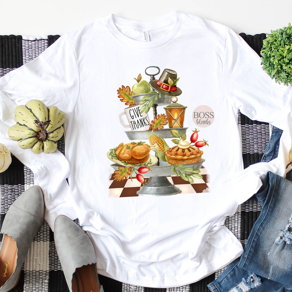 Tiered Tray Thanksgiving Screen printed