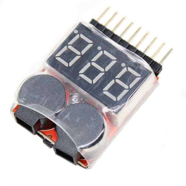Vanpro Electric skateboard polymer battery RC 1-8s Lipo Battery Tester Monitor Low Voltage Buzzer Alarm Voltage Checker with LED Indicator for Lipo Life LiMn Li-ion Battery(Snow Black, Pack of 1)