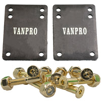 Vanpro Skateboard Deck trucks Risers PU Shock pads Mounting Hardware Screws Outfits (Pack of 1 set)