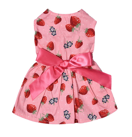 Strawberry Patterns One-piece Puppy Dog Dress Pet Princess Dress - stanomy