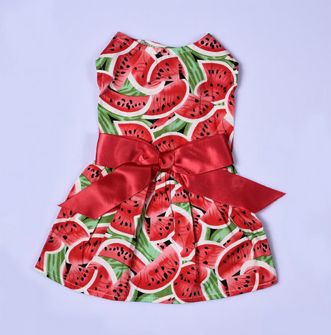 Summer Watermelon Patterns Pet Dog Puppy Princess Dress - stanomy