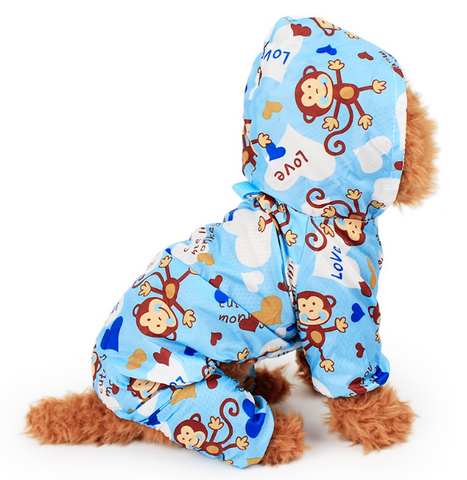 Cute Monkey Puppy Dog Raincoat for Small Dogs - stanomy