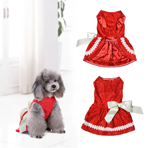 Pet Dress Hollow Embroidered Dog Princess Summer and Spring Cute Clothes - stanomy