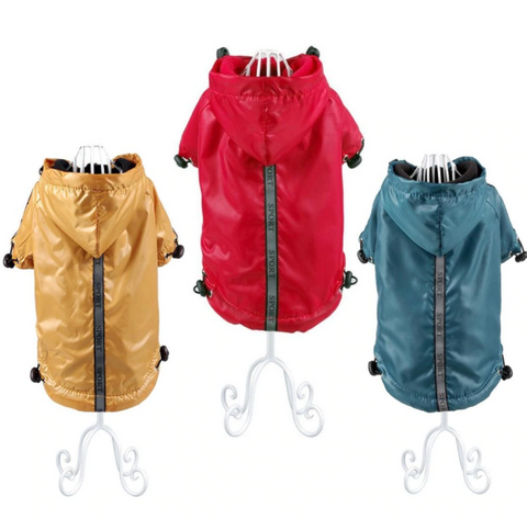 Raincoat for Pets Dog Raincoat Jacket Reflective Fleece Liner Warm Hood Drawstring - stanomy
