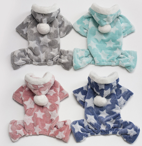 Star Pattern Soft Fleece Dog Clothes Autumn Winter Hoodies - stanomy