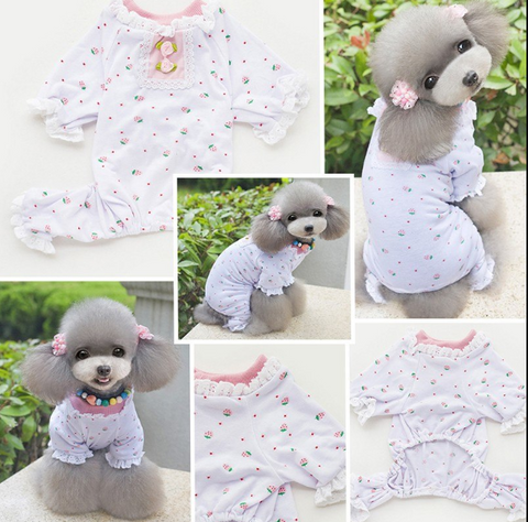 Summer Pets Dogs Puppy Lace Floral T-shirt Pajama Cotton Costume