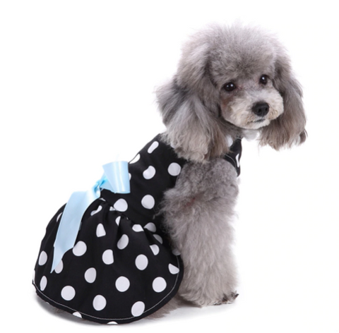 Black-and-White dotted Pet Washable Princess Dress - stanomy
