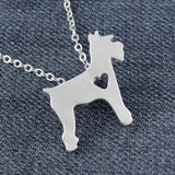 Schnauzer Necklace Matt Silver Dog - stanomy