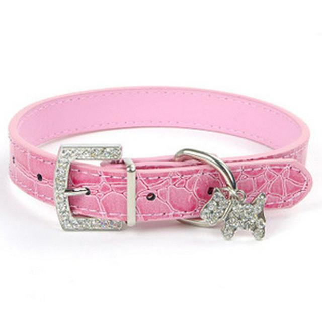 Dog Collar Rhinestone Croc Dog Cat Pet Personalized PU Leather Name Collar Chihuahua Yorkie Poodle Maltese Shih Tzu Pug - stanomy
