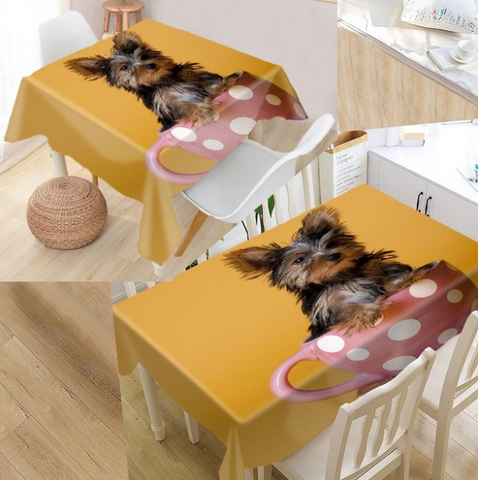 Yorkshire Terrier Table Cloth Waterproof Oxford Fabric Rectangular Tablecloth Home Party - stanomy