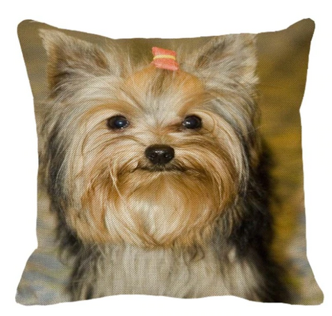 Cute Yorkshire Terrier Pattern Linen Pillow Case Home Sofa Square Pillow Cover Dog Cushion Cover 45X45cm - stanomy