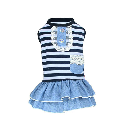 Summer Pet Dog Cute Clothes Costume Stripe Dress Tutu Denim Dress XS- XL Dog Wedding Dress - stanomy