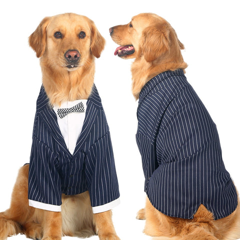 Dog Suits for Wedding Large Dog Clothes Big Dogs Coat Stripes Bowknot Tuxedo Wedding Suit For Retriever Husky - stanomy
