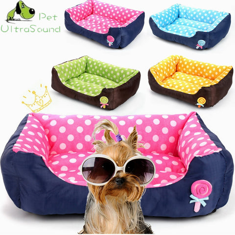 All Seasons Small Medium Size Extra Pet Dog Bed House Sofa Kennel Soft Dots Fleece Pet Dog Cat Warm Bed S M L - stanomy