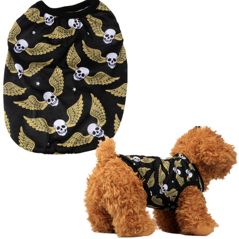 Spring/Summer Skull Print Pet Dog Vest T-Shirt Cute Dog Shirt XS-L Pet Clothes For Dogs Cats Puppy