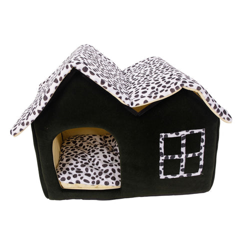 New Pet Dog Cat Bed House Kennel Cushion Basket Puppy Dog Bed Cottage Coffee M - stanomy